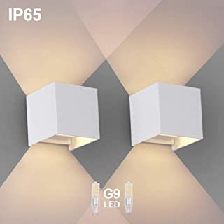 2PCS Moderna Apliques De Pared Blanco Calido G9 LED OOWOLF- Lampara De Pared Bombillas LED Reemplazables Iluminacion Decorativa Impermeable IP65 De Exterior y De Interior [A+++]