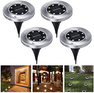 4PCS 8 construccion en LED Energia Solar Buried Ground Lights al aire libre- Wireless Solar Security Dusk to Dawn Night Light- Solar Powered Path Lights