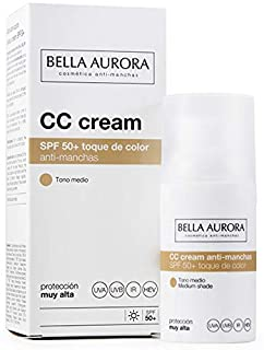 Bella Aurora Crema Facial con Color y Protección Solar 50+ Anti-Manchas para Piel Normal o Seca- Tono Medio 30 ml