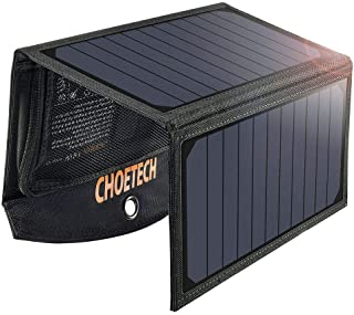 CHOETECH Cargador Solar Portatil- 19W Panel Solar Cargador Placa Solar Impermeable Solar Power Bank USB Puertos para Teléfonos Samsung- iPhone- Huawei- iPad- Cámara- Tableta- Altavoz Bluetooth etc.