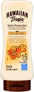 Hawaiian Tropic Satin Protection Ultra Radiance SPF 15 - Loción Solar de Protección Media - Protege y Suaviza la Piel - Fragancia Frutas Tropicales- 180 ml