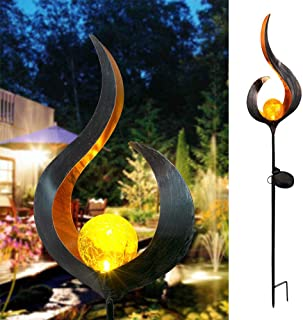 Konesky Moon Solar Lights Outdoor Garden Light LED Lámpara de paisaje Moon Crackle Luz decorativa para Pathway- Patio- Walkway- Yard- Lawn (type 1)
