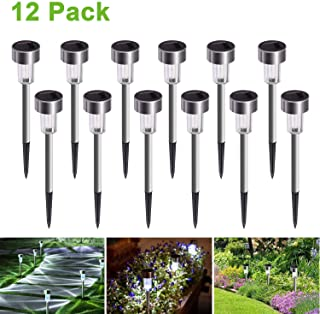 Luces Solares Jardín LED-JuguHoovi Luz Solar de Césped- Impermeable Paisaje-Pathway Lámpara de Acero Inoxidable LED Luces Solares de Exterior Para Patio- Césped- Patio- Pasillo-12pcs