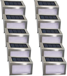 Luces Solares para Exterior Jardín 4LED Easternstar- Lámparas Solares impermeable IP44 Exterior- Solar Panel del acero inoxidable- 4 LED Ilumina a las escaleras- pared-patio y jardín etc.(10 unidades)