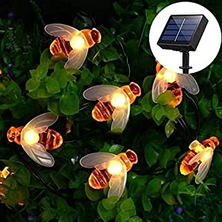 Luces de Cadena de Abeja- EONANT Bee String Lights 30LED a Prueba de Agua Honey Bees Luces Solares para Jardín al Aire Libre Summer Party Wedding Xmas Decoration (Blanco Cálido)