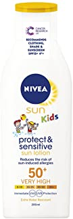 Nivea - Kids protect and sensitive- loción solar con- factor de protección solar 50+ muy alta- 200 ml