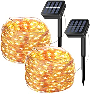 Tempo 2 Pack Solar Fairy String Lights- 20 Meters-66ft 200 LED 8 Modes Copper Wire Starry Lights- Indoor-Outdoor Solar Lights for Christmas-Garden-Home-Patio-Wedding-Party-Warm White