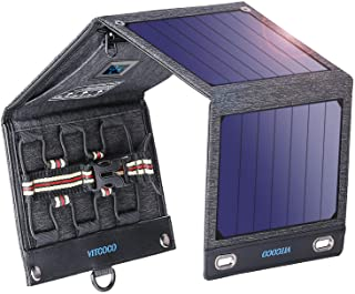 VITCOCO Panel Solar Portátil- 16W Portatil Cargador Solar Portátil Plegable Impermeable Power Bank con 2 USB de Salida Puertos for Telephone- Camera etc.