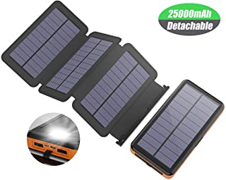 X-DRAGON Cargador Solar 25000mAh Portátil Powerbank Batería Externa Impermeable with 4 Paneles Solares- Salidas y Entradas USB Duales- Linterna LED para Movil iPhone Samsung Huawei Xiaomi