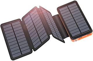 ADDTOP Cargador Solar 25000mAh USB C Power Bank Portatil con 4 Paneles para iPhone- Samsung- Android y Tablet