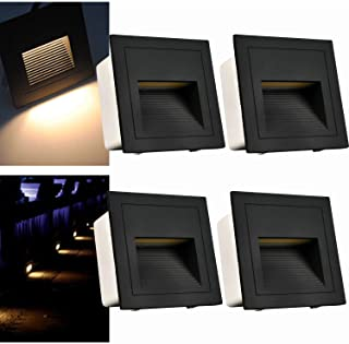 Arote - Juego de 4 lamparas led empotrables de pared iluminacion escalera led escalera empotrables (3 W- aluminio- 230 V- luz blanca calida- IP65- impermeable)- color negro