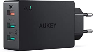 AUKEY Quick Charge 3.0 Cargador Movil 3 Puertos 43-5W Cargador de Pared para Samsung Galaxy S9- S8 - Note 8- LG- HTC- iPhone XS-XS MAX-XR- iPad Pro-Air- Moto G4 y mas
