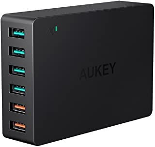 AUKEY Quick Charge 3.0 Cargador USB 60W 6 Puerto Cargador Movil para Samsung Galaxy S8 - S8+ - Note 8- LG G5 - G6- Nexus 5X - 6P- HTC 10- iPhone XS-XS MAX-XR- iPad Pro-Air- Moto G4 y mas