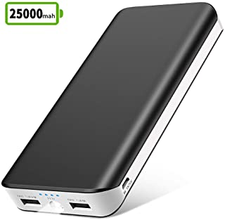 Bateria Externa Movil 25000mAh Power Bank Cargador Portatil Movil de Alta Capacidad con 2 Salidas USB 2.1A-1A-Entrada 2A y LED Linterna-4 Indicadores LED para iPhone Huawei-Tablets y Mas Dispositivos