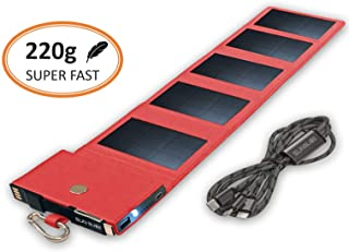 Cargador Solar Movil equipado con tecnologia SunPower- Power Bank carga rapida- tamano de bolsillo- Panel Solar compatible con iPhone- Samsung- Huawei- ideal para caminar- rojo