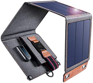 CHOETECH Cargador Solar- 14W Panel Solar Cargador Portatil Impermeable Placa Solar Power Bank Compatible con Telefonos Samsung- iPhone- Huawei- iPad- Altavoz- Camara- Tableta- Altavoz Bluetooth etc.