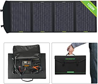 ECO-WORTHY - Panel solar portatil plegable de 100 W con controlador de carga con doble USB DC para portatil- tableta- iPad- iPhone- portatil- coche de 12 V- barco- RV- camping- senderismo- generador