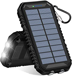 Hiluckey Cargador Solar 15000mAh Impermeabl Bateria Externa Portatil Power Bank con 2 Salidas USB 2.1A y LED Ligeros para iPhone- iPad- Samsung- Xiaomi Moviles Inteligentes y Tabletas
