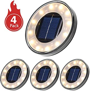 Luces Solares Led Exterior-Tomshine 4 Pack 12 LEDs Luces Solares para Jardin-IP68 Impermeable-Focos Solares LED para Exterior- Jardin- Terraza- Cesped- Pasarela(Blanco Calido)