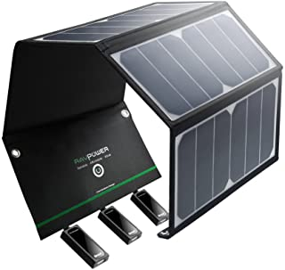 RAVPower Cargador Solar Portatil De 24 W con 3 Puertos USB iSmart 21.5 – 23.5- Conversion Energia Solar- Chip Smart IC- Plegable- Impermeable- 2 Cables Micro USB