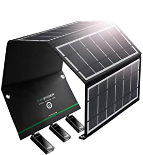 RAVPower UK RP-PC005(B) Cargador Solar 24 W Panel Solar con Triple Puertos USB Impermeable Plegable para Smartphones Tablets y Camping Viaje