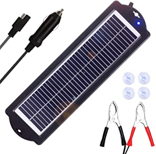 SARONIC 3W 12V Solar Trickle Charger Waterproof Portable High Conversion Monocrystalline Solar Panel for RV Motorcycle Boat Watercraft