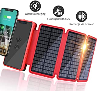Soluser Bateria Externa Solar 20000mAh- Solar Power Bank 2 Salidas USB Cargador Inalambrico Portatil con indicador de Estado LED y Linterna SOS para iPhone iPad Dispositivos Android