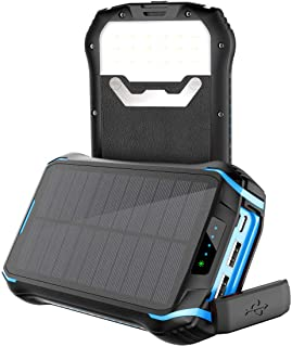 Soluser Solar Power Bank 26800mAh Power Cargador Solar Movil Portatil Bateria Externa con 3 Salidas USB 3.1A y Linterna LED para iPhone iPad Samsung Android Tablets