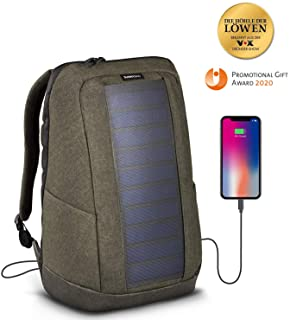 SunnyBAG Iconic Mochilla Solar para Laptop- Panel Solar de 7 vatios- Cargador de Smartphones (Samsung- iPhone- etc.)- Tablet- smartwatch + USB y Dual-USB-Port (Olive Brown)