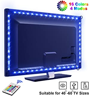 Tira LED TV 2.2M- OMERIL 5050 Tiras LED USB Impermeable con Control Remoto- 16 RGB Colores y 4 Modos- Retroiluminacion LED de TV para Cine en Casa- HDTV-PC Monitor (40-60 Pulgada) - 2x50cm+2x60cm