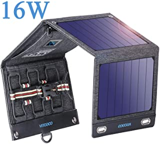 VITCOCO Panel Solar Portatil- 16W Portatil Cargador Solar Portatil Plegable Impermeable Power Bank con 2 USB de Salida Puertos for Telephone- Camera etc.