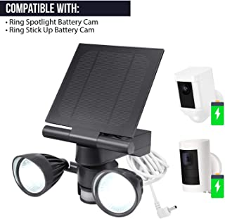 Wasserstein – Foco Ring y Cargador con Panel Solar- activacion por Movimiento- Solo Compatible con Ring Stick Up CAM y Ring Spotlight CAM (Pack de 1- Negro)