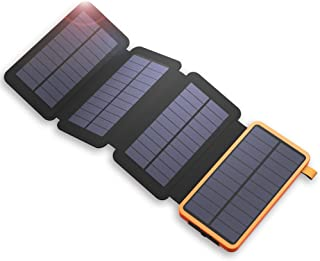 X-DRAGON 20000mAh Cargador Solar Power Bank con 4 Paneles Solares- Dual USB- Linterna LED Impermeable Portatil Bateria Externa Copia de Seguridad para iPhone- Telefonos Celulares- iPad- Tablet y Mas